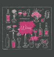 set of images on the theme of wine vector image