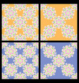 set of seamless blue and orange vintage patterns vector image vector image