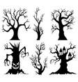 set of spooky halloween tree cartoon vector image