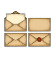 set paper envelopes different views color vector image