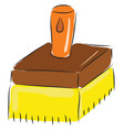 simple cartoon big yellow brush on white vector image vector image