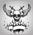 skulls wings tattoo hand drawing vector image vector image