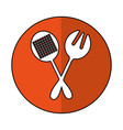 spoon and fork kitchen cutlery isolated icon vector image