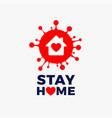 stay home logo icon - red corona covid19 19 virus vector image vector image
