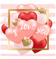 striped background for valentines day vector image vector image