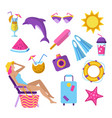 summer beach vacation elements set vector image vector image