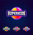 super kids super hero power full typography vector image vector image