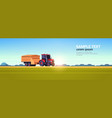 tractor with trailer heavy machinery working in vector image