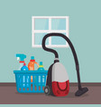 vacuum cleaner with laundry service vector image vector image