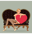 Vintage pin up girl sitting on black leather sofa vector image