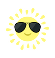Sun shining icon Sun face with black pilot vector image