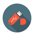 USB flash drive flat icon vector image