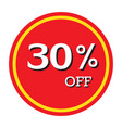 30 off discount price tag isolated vector image vector image
