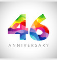 46 anniversary colorful facet logo vector image vector image