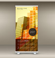 abstract yellow standee roll up banner design in vector image
