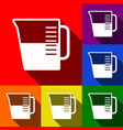 beaker sign set of icons with flat vector image
