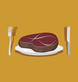 Beef Steak Cutlery knife and fork vector image vector image