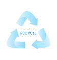 blue arrows recycle eco symbol blue gradient vector image