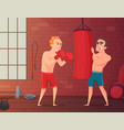 boxer training male hits to punching bag at the vector image