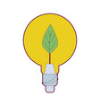 bulb with leaf inside to reduce energy vector image vector image