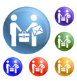 businessmen bribery icons set vector image