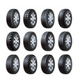 car tires 3d isolated icons with tread vector image vector image