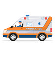 cartoon van medical car with driver man vector image vector image