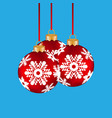 christmas balls hanging on a clothesline on a blue vector image