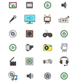 Color multimedia icons set vector image vector image