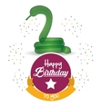 cute balloon snake happy birthday confetti ribbon vector image