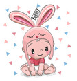 cute cartoon baby boy in a bunny hat vector image vector image