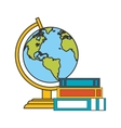 earth globe and books icon vector image vector image