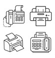 fax icon set outline style vector image vector image