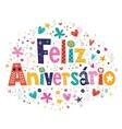 Feliz Aniversario Portuguese Happy Birthday card 2 vector image vector image