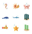 flat icon marine set of periscope cachalot shark vector image vector image