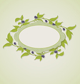 Green olive branches and label vector image vector image