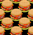 Hamburger seamless pattern Sandwich of patties and vector image