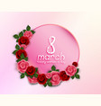 happy womens day greeting round banner with red a vector image
