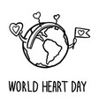 happy world heart day concept background hand vector image vector image