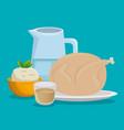 healthy food menu icons vector image