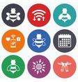 Honey bees icons Bumblebees symbols vector image
