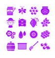 honey icons set neon silhouette style beekeeping vector image vector image