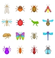 Insects icons set cartoon style vector image vector image