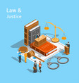 law justice composition concept 3d isometric view vector image