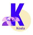 letter k - koala vector image vector image