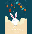 mid autumn festival poster with rabbit and lamps