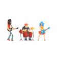 musicians people set guitarist singer drummer vector image vector image
