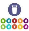plastic flip lid bin icons set flat vector image vector image