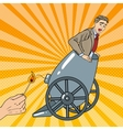 Pop Art Cannon Business Man Gets Fired vector image