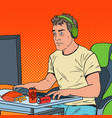 pop art exhausted computer addicted guy vector image vector image